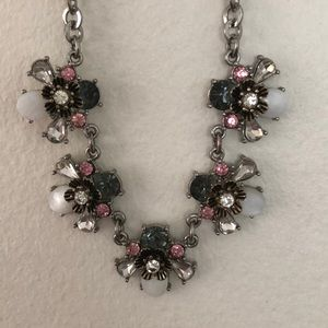 Jewelry - Silver pink grey white and diamonds short necklace
